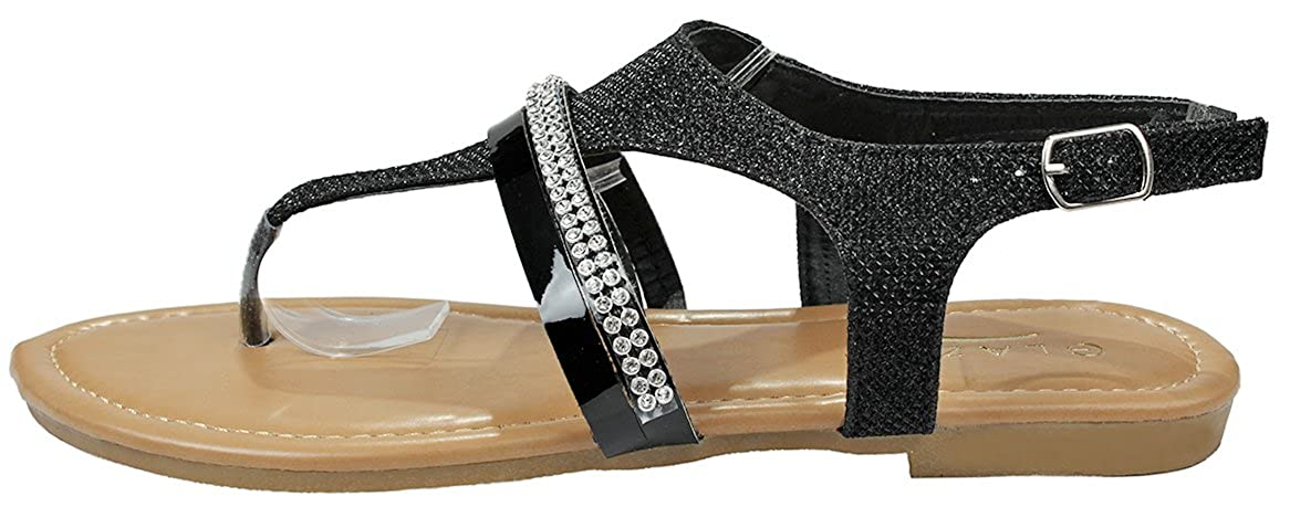 193ab80b6 Amazon.com   JJF Shoes Women Sparkling Crystal Rhinestone Strappy Cut Out  Gladiator Flat Dress Sandals   Flats