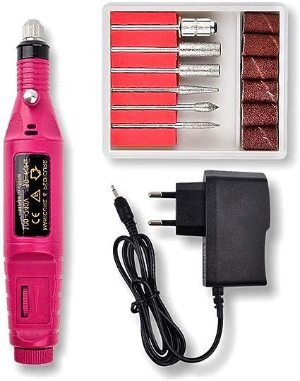 Q-HL Pulidor de uñas, Máquina de limado de uñas 6 en 1: kit de brocas de pedicura para manicura profesional para geles acrílicos (20000 rpm) (color : Red): Amazon.es: Belleza