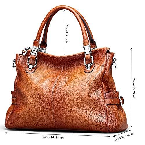 S-ZONE Women's Vintage Genuine Leather Tote Shoulder Bag Top-handle Crossbody Handbags Ladies Purse (Brown) by S-ZONE (Image #3)
