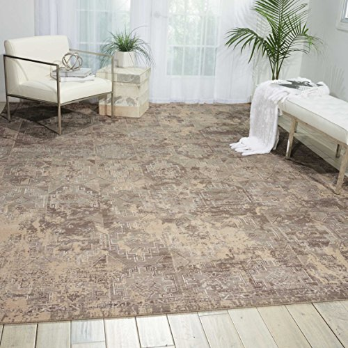 Nourison Silk Elements (SKE19) Mushroom Rectangle Area Rug, 7-Feet 9-Inches by 9-Feet 9-Inches (7'9