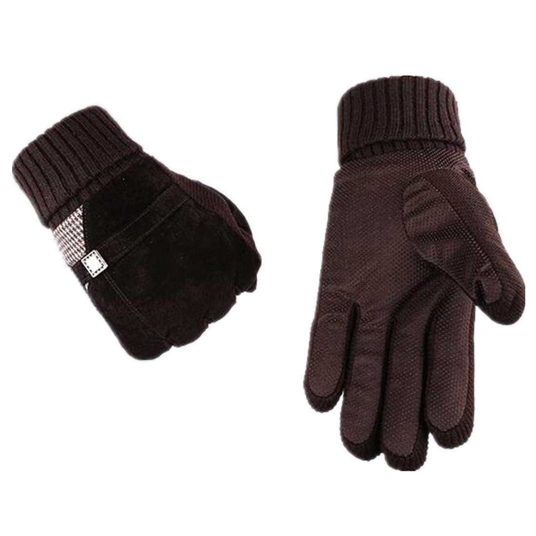 Yingniao Mens Suede leather Gloves Winter Warm Full Finger Motorcycle Cycling Gloves