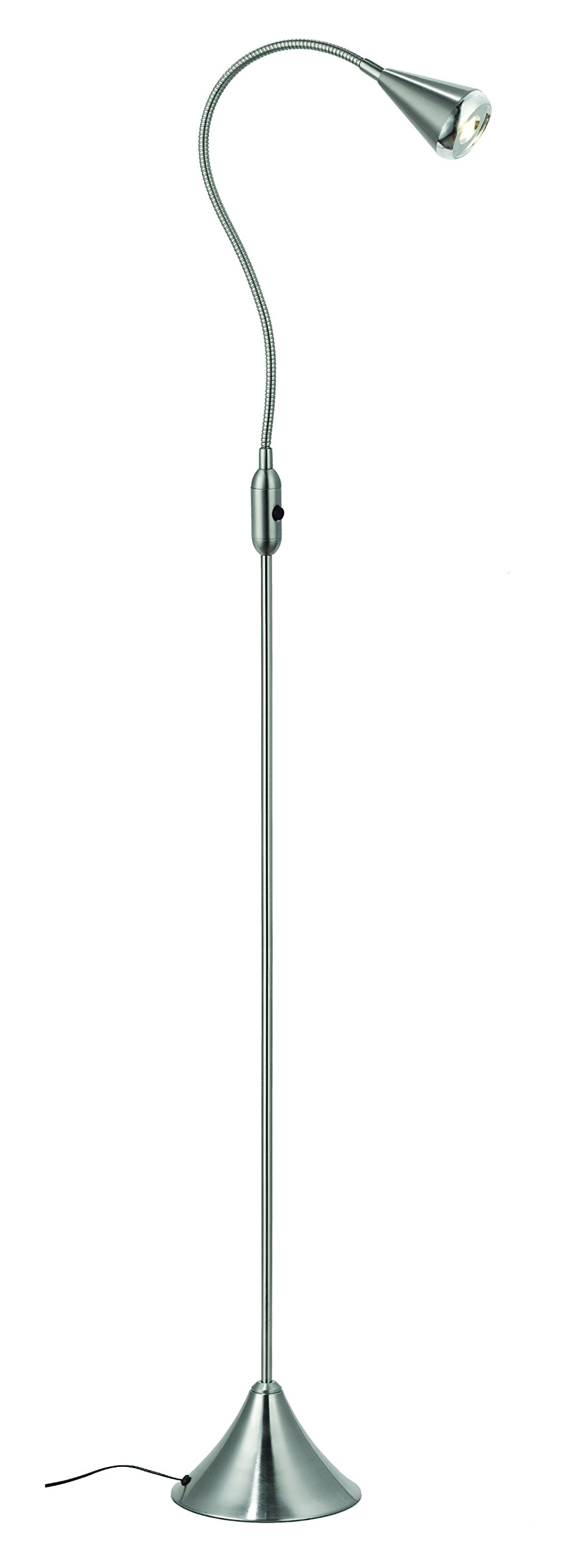 HomeFocus LED Floor Lamp Light,Living Room Floor Lamp Light,Bedside Floor Lamp Light,Metal, Satin Nickel,Flexible Gooseneck,LED4.2-5W,3000K Warm White,Top Quality,Energy Efficient,Super Bright. by HomeFocus