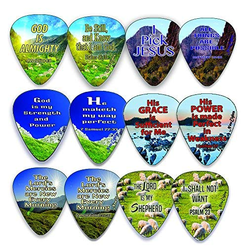 Christian Guitar Picks - Almighty God (12-Pack) - Encouraging Bible Scripture Verse - Psalm 23 - Inspirational Gifts Church Supplies Praise and Worship Guitar Stocking Stuffers