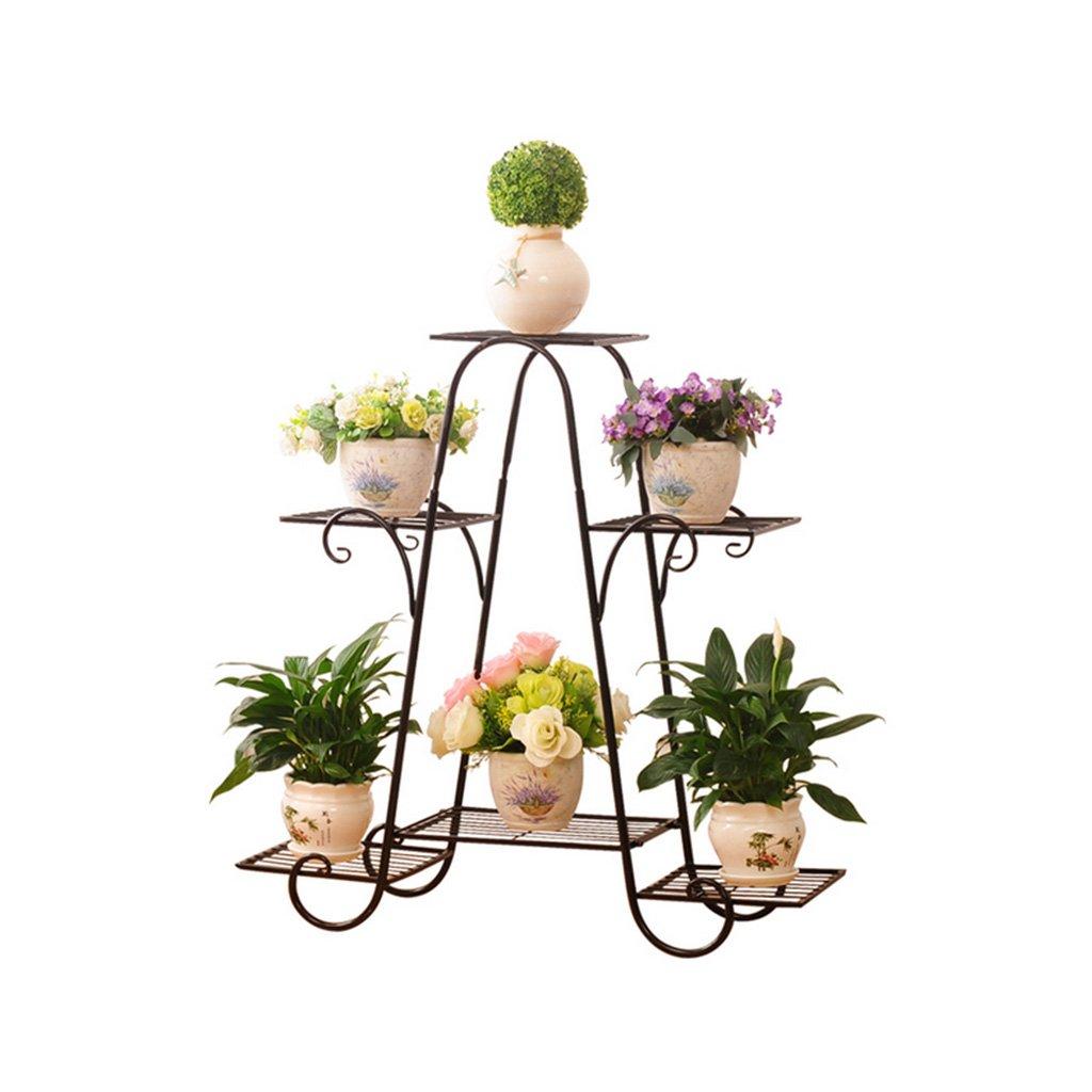 Black-69.5cm22.5cm64.5cm Flower racks - Flower Pot Rack 4-Tiered Scroll Classic Plant Stand Metal Garden Patio Standing Plant Display Shelf (color   gold-69.5cm22.5cm64.5cm)