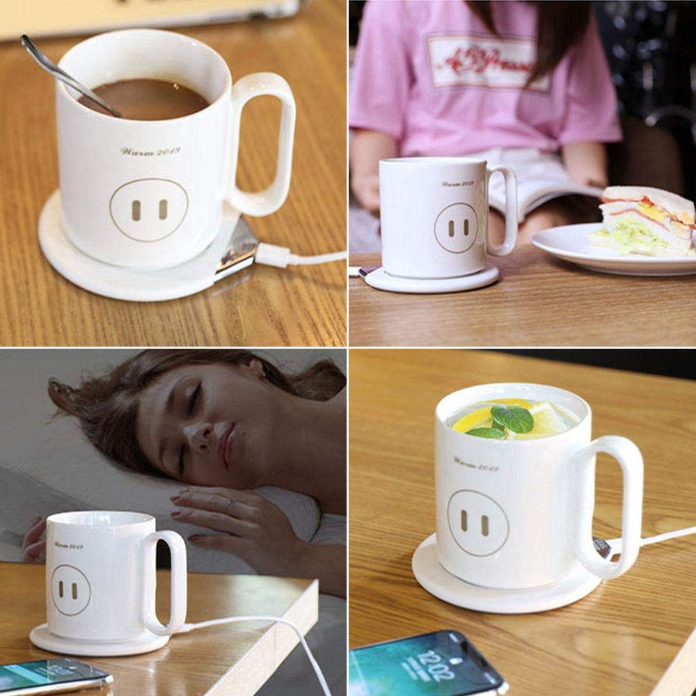 Hamkaw Coffee Mug Warmer with Wireless Charger, [2019 Upgrade 2-in-1] Coffee Tea Milk Cup Warmer & QI Wireless Phone Charger, Creative Candle Wax Warmer, Novelty Gift for Mother/Father by Hamkaw (Image #9)