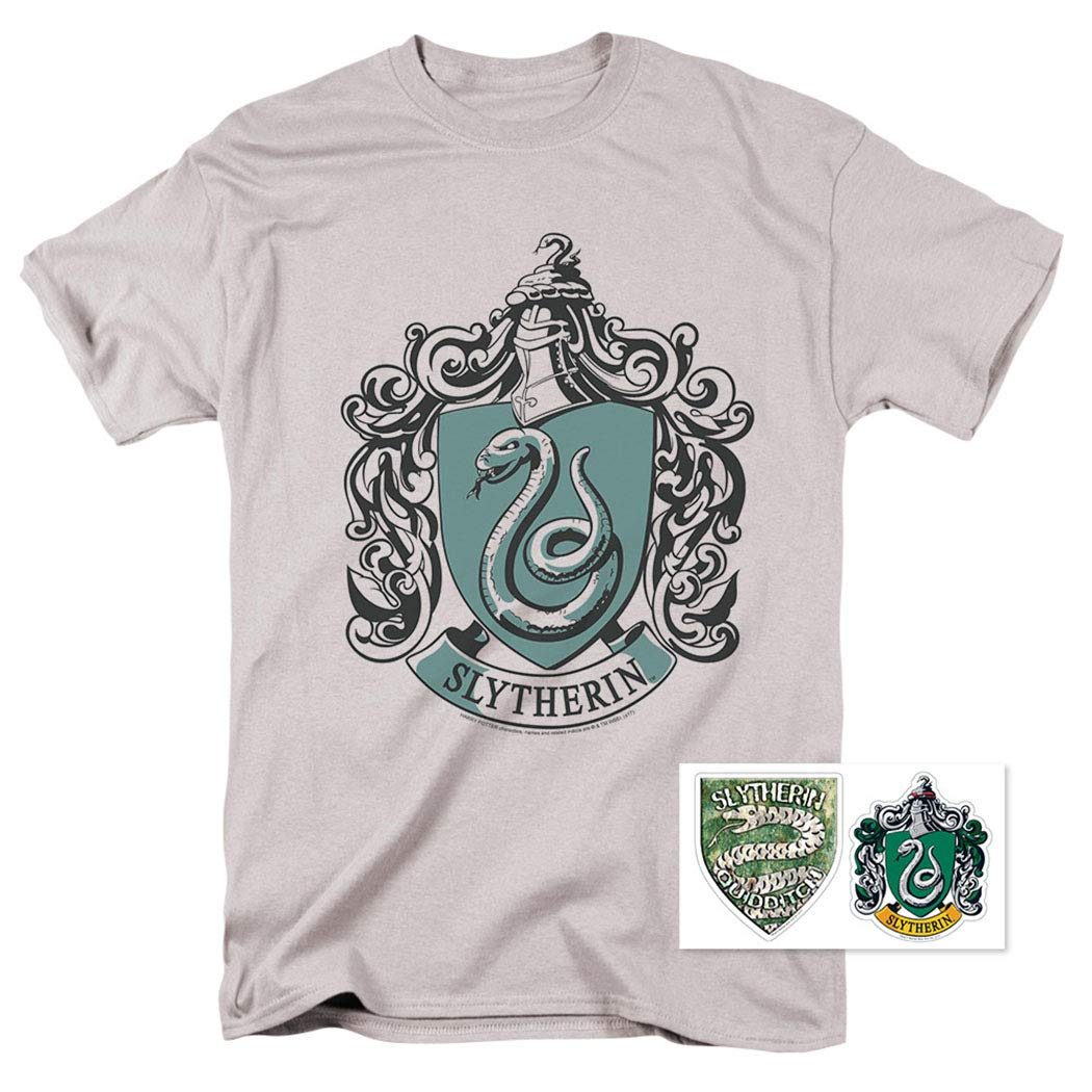 1dc110ec8 Amazon.com: Popfunk Harry Potter Slytherin Logo Adult T Shirt & Stickers:  Clothing