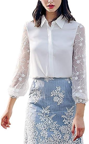 Blusa Mujer Fashion Elegantes con Encaje Tops Camisa Primavera Otoño Manga Larga De Modernas Casual Solapa con con Lazo Casual Oficina Blusas Superiores Camisas Blancas: Amazon.es: Ropa y accesorios