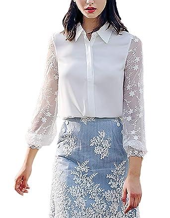 Blusa Mujer Fashion Elegantes con Encaje Tops Manga Larga Primavera Otoño Camisa De Solapa Negocios con Lazo Casual Oficina Blusas Superiores Camisas ...