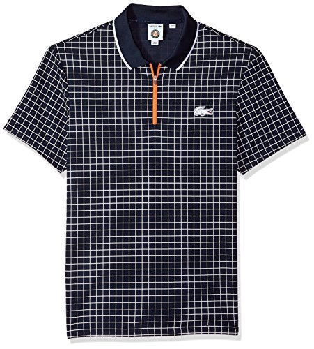 Lacoste Men s Short Sleeve Pique Ultra Dry with Check Print   Contrast  Zipper Polo b6eb24dd47
