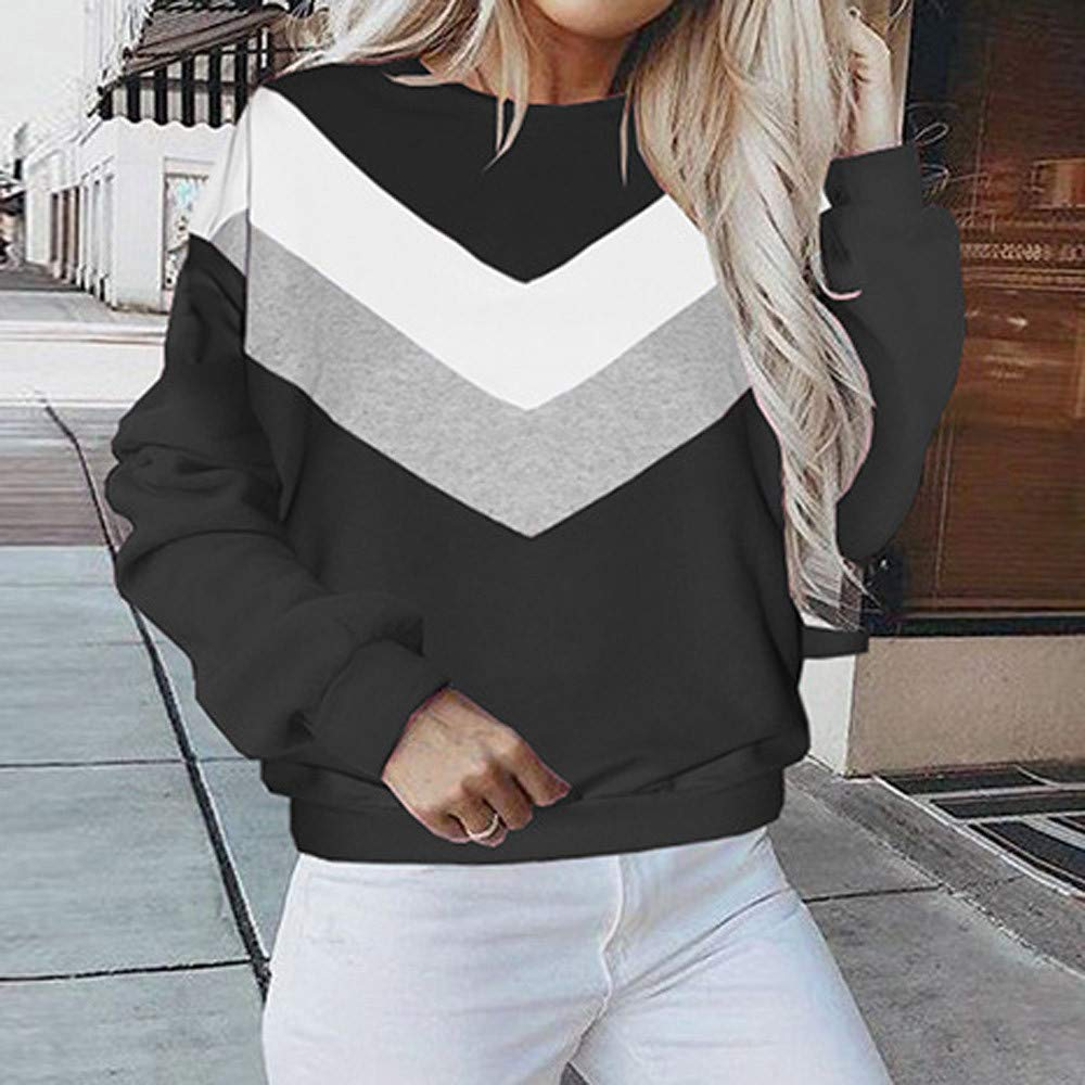Balakie -Tops 2018 New Womens Casual Long Sleeve Patchwork Pullover Blouse Shirts, (Black Pink Green Blue, S/M/L/XL) at Amazon Womens Clothing store: