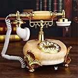 HomJo Push Button Telephone Vintage Antique Style jade metal Corded Telephone Home Living Room