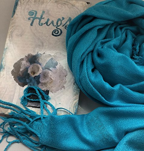 Smiling Wisdom - Blue Hugs & More Hugs Gift Set - Peacock Pashmina Scarf - Old Fashioned Paisley Design Supportive Consoling Card - For Her, Friend, Woman - Grief, Bad Day, Disappointment, Sympathy