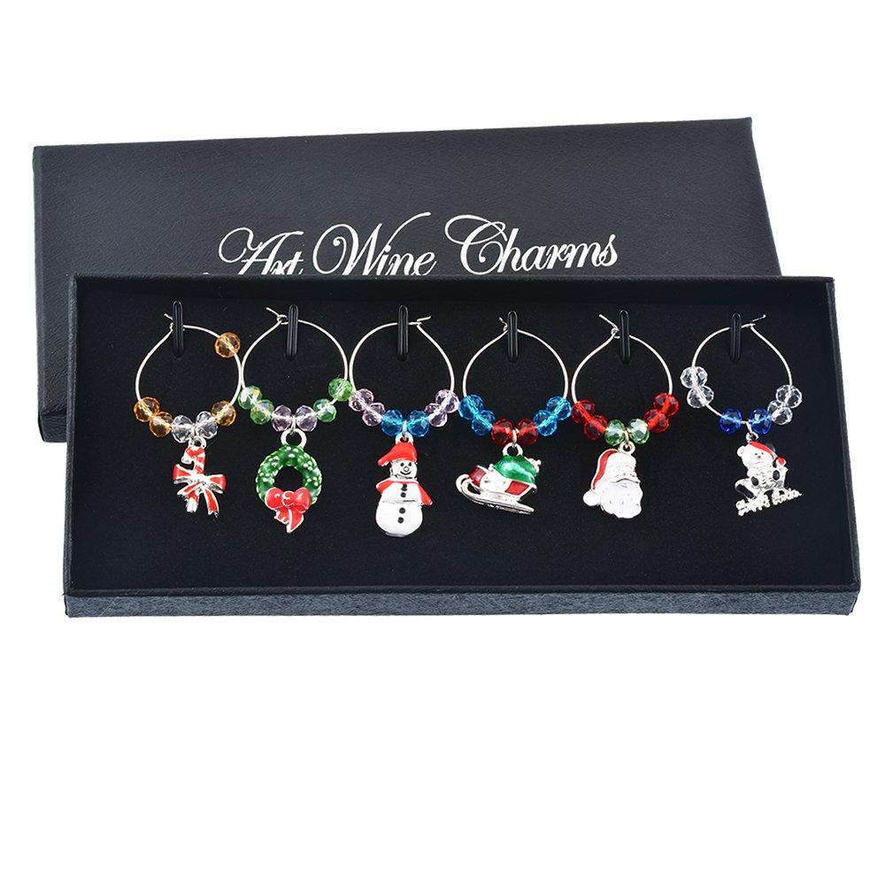 MJARTORIA Christmas Tree Santa Claus Candy Cane Multicolor Beads Wine Glass Charms Set of 6