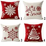 Set Of 4 Happy Winter Beige Shadow Various Let It Snow Snowflakes In Red Merry Christmas Gifts Cotton LinenThrow Pillow Case Personalized Cushion Cover NEW Home Office Decorative Square 18X18 Inches