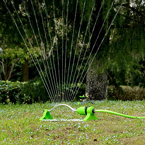 YeStar Garden Lawn Oscillating Sprinkler System 17 Holes with Brass Nozzles, One Touch Width Control & Flow Control, Water Up to 3,600 Sq. Ft. Coverage (Mid Range Control)