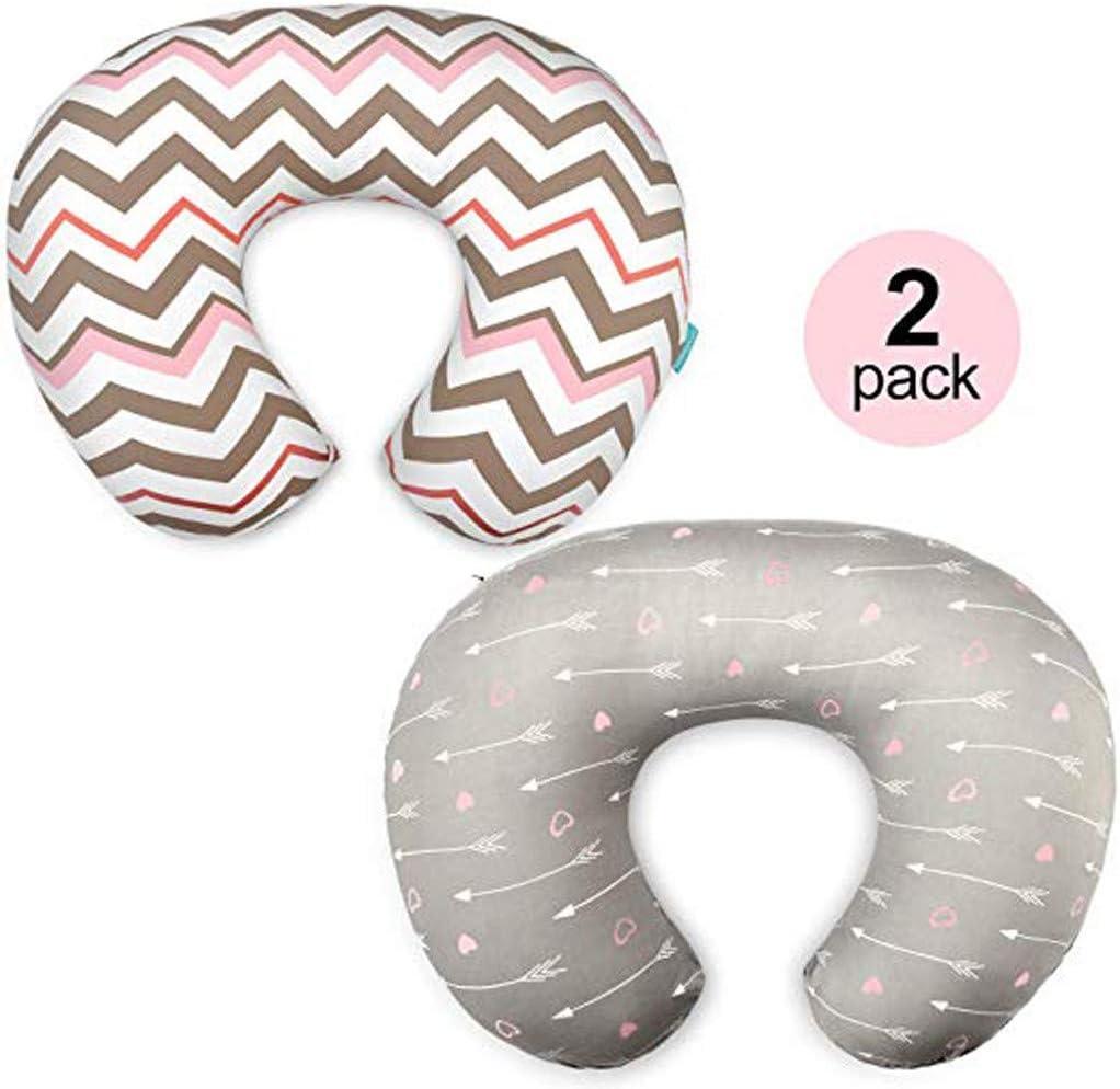 BINMUO 2 Pack Breastfeeding U-Shaped Pillow Soft Flexible Nursing Pillow for Babies Nursing,Notebook Gray