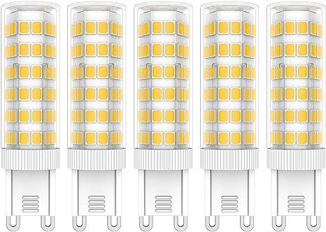 5X G9 LED de Bombillas 7W LED Lámpara 76 SMD 2835LEDs Bombilla Lámpara Blanco Cálido 3000K Super Brillante 650LM LED Bulb AC220V-240V