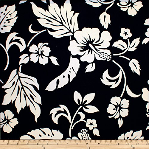 Trans-Pacific Textiles Simple Hawaiian Pareau Hibiscus Black Fabric by The ()