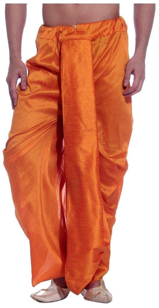 Royal Kurta Men's Art Silk Fine Quality Ready To Wear Dhoti pants Free Size Orange