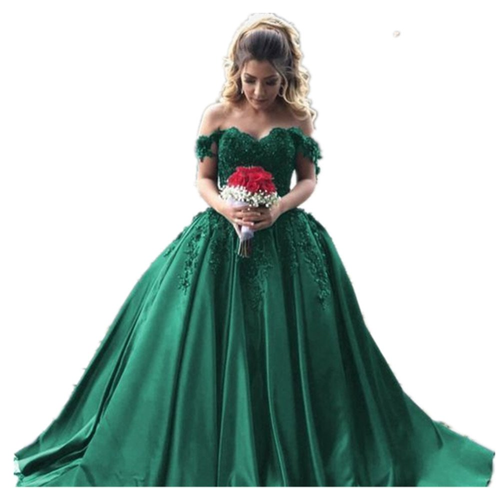 Formaldresses Off Shoulder Burgundy Prom Dress Long Evening Formal Women  Dress Plus Size with Lace Beading Lace up Back (US Size 14, Emerald Green)