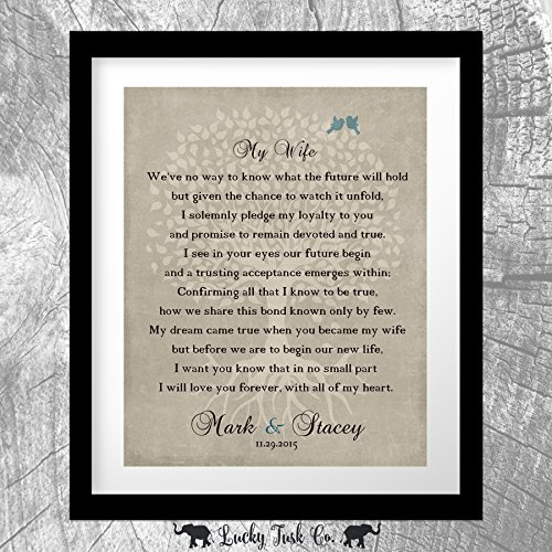 Thank You Gift For Wife at Wedding Love Poem Personalized Gift From Groom To Bride Wife Family Wedding Poem Tree First 2nd 10th Gift For Mom and Dad 8x10 Unframed Custom Art Print (Gifts For Bride From Groom)
