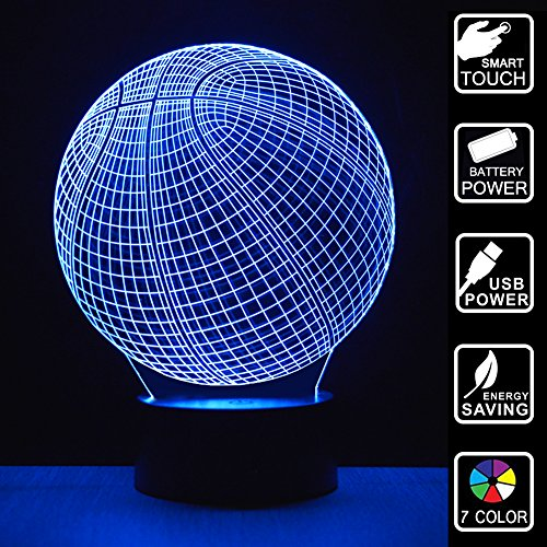 Basketball Night Light 3D Illusion Lamp NBA Basketball Gifts For Boys Table Desk Decor Lamps 7 Color Changing Touch Switch Toy For Basketball Fans Gift Ideas
