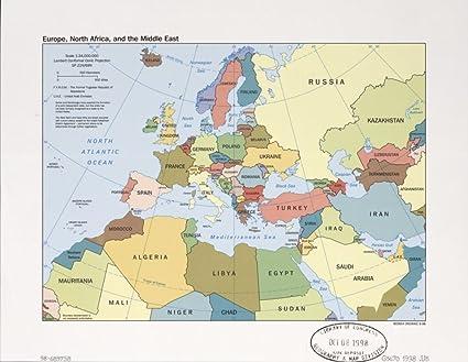 Cartina Europa E Medio Oriente.Vintage 1998 Mappa Dell Europa North Africa E Il Medio Oriente Emisfero Orientale Europa Medio Oriente Nord Africa Amazon It Casa E Cucina