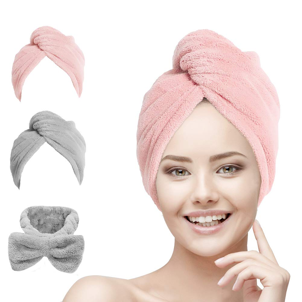 Hair Towel Wrap Turban Microfiber, Hair Drying Towels Quick Dry Hair Hat Drying Shower Head Towels Wrapped Bath Cap Anti Frizz Hair Care Dryer Towel for Women Girl Wet/Long/Curly/Thick Hair (3Pack) by youcoulee