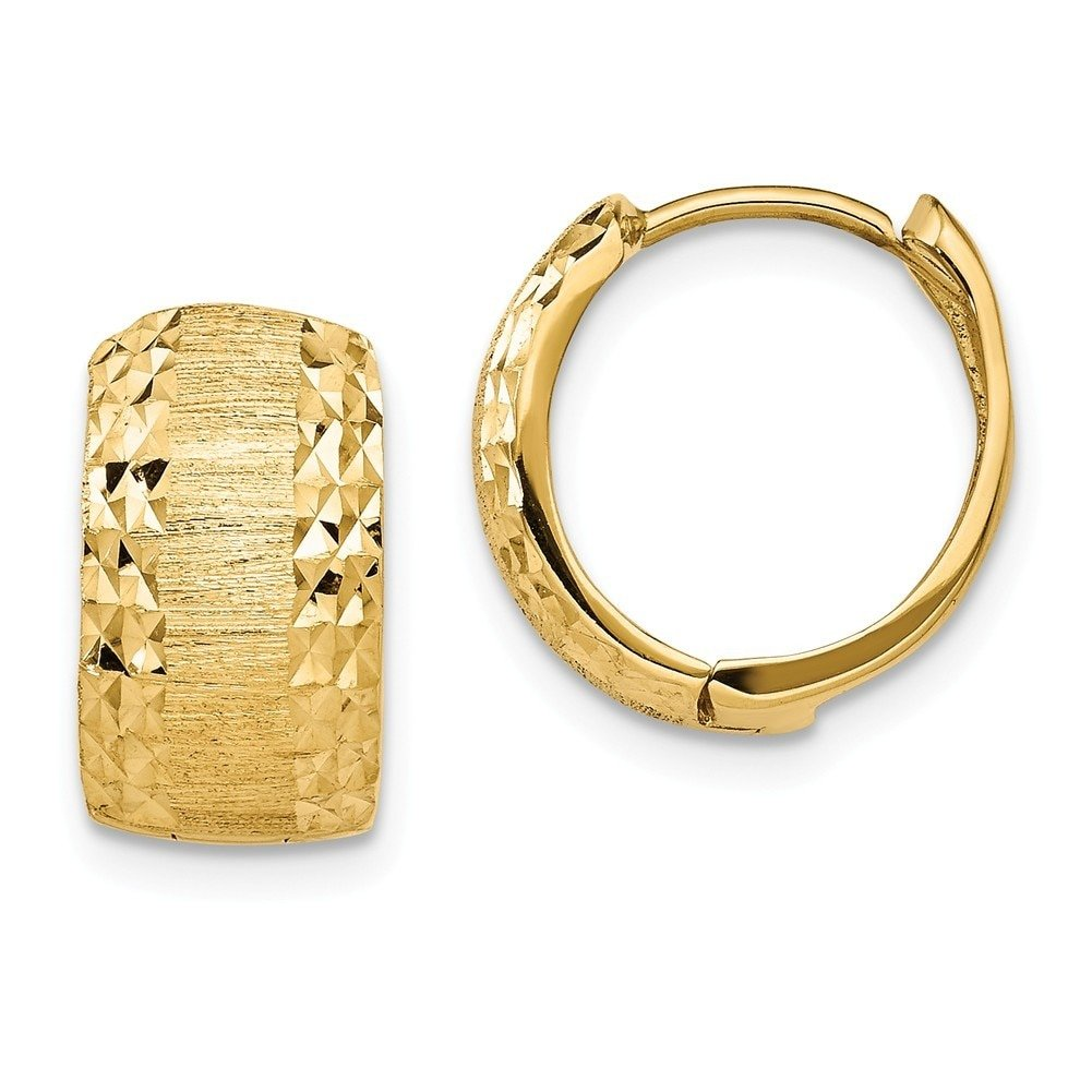 Leslie's 14k Yellow Gold Polished & Textured D/C Hinged Hoop Earrings LE1776