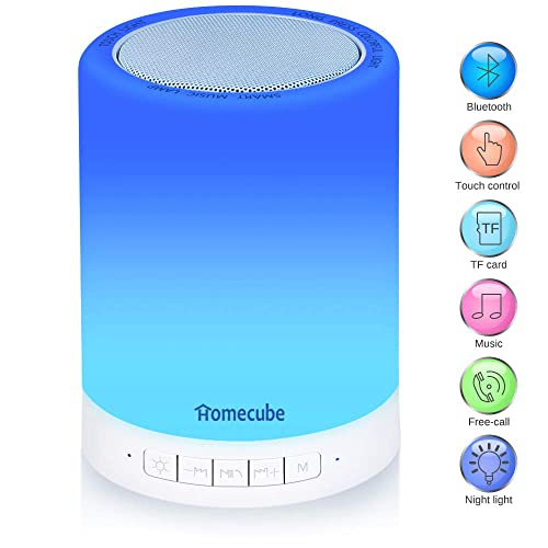 Homecube Bluetooth Speaker Lamp, Bedside Lamp with Wireless Touch Dimmable Table Lamp Night light with TF Card, AUX Supported, Hands-free Speakerphone, Metal Handle Gift for Mens & Women Bedroom