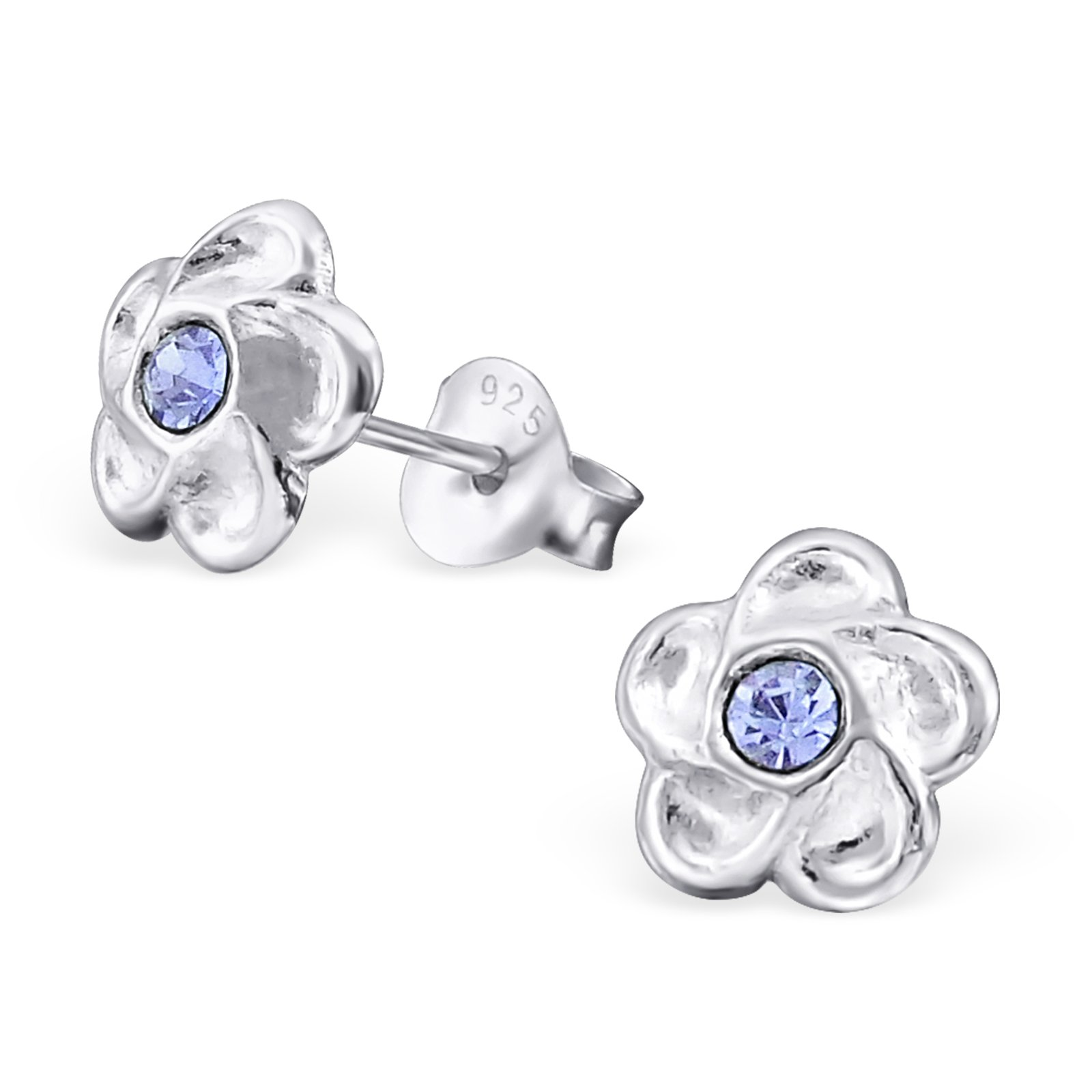 Hypoallergenic Flower Stud Earrings for Girls (Nickel Free and Safe for Sensitive Ears) - Violet