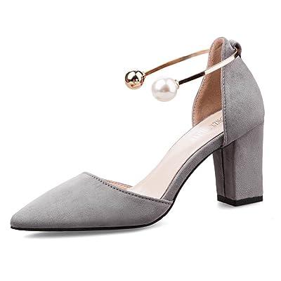 AdeeSu Womens Chunky Heels Pointed-Toe No-Closure Suede Pumps Shoes
