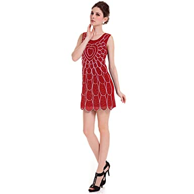 8fb2805a37c Bling Rhinestone Front Decor Straight Slim Fitting Women Tank Dress Red S -  Red -  Amazon.co.uk  Clothing