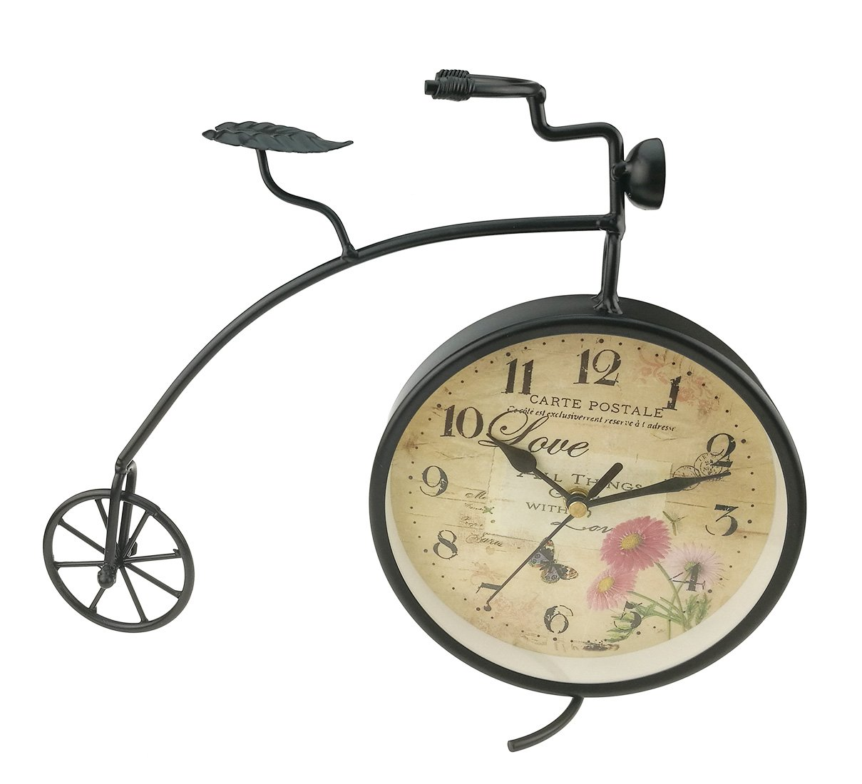 European Simple Creative Iron Art Antique Finishing Bicycle Clock - Iron wrought home decorative display item. High-quality plated finishment surface, delicate and smooth, full of metallic lustre. Floral butterfly design, let you feel the charm of vintage style. - clocks, bedroom-decor, bedroom - 61S6Jif53fL -