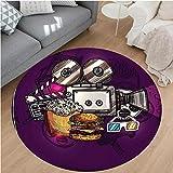 Nalahome Modern Flannel Microfiber Non-Slip Machine Washable Round Area Rug-or Cartoon like Cinema Movie Image Burgers Popcorns Glasses Art Print Plum Ginger Dimgrey area rugs Home Decor-Round 59''