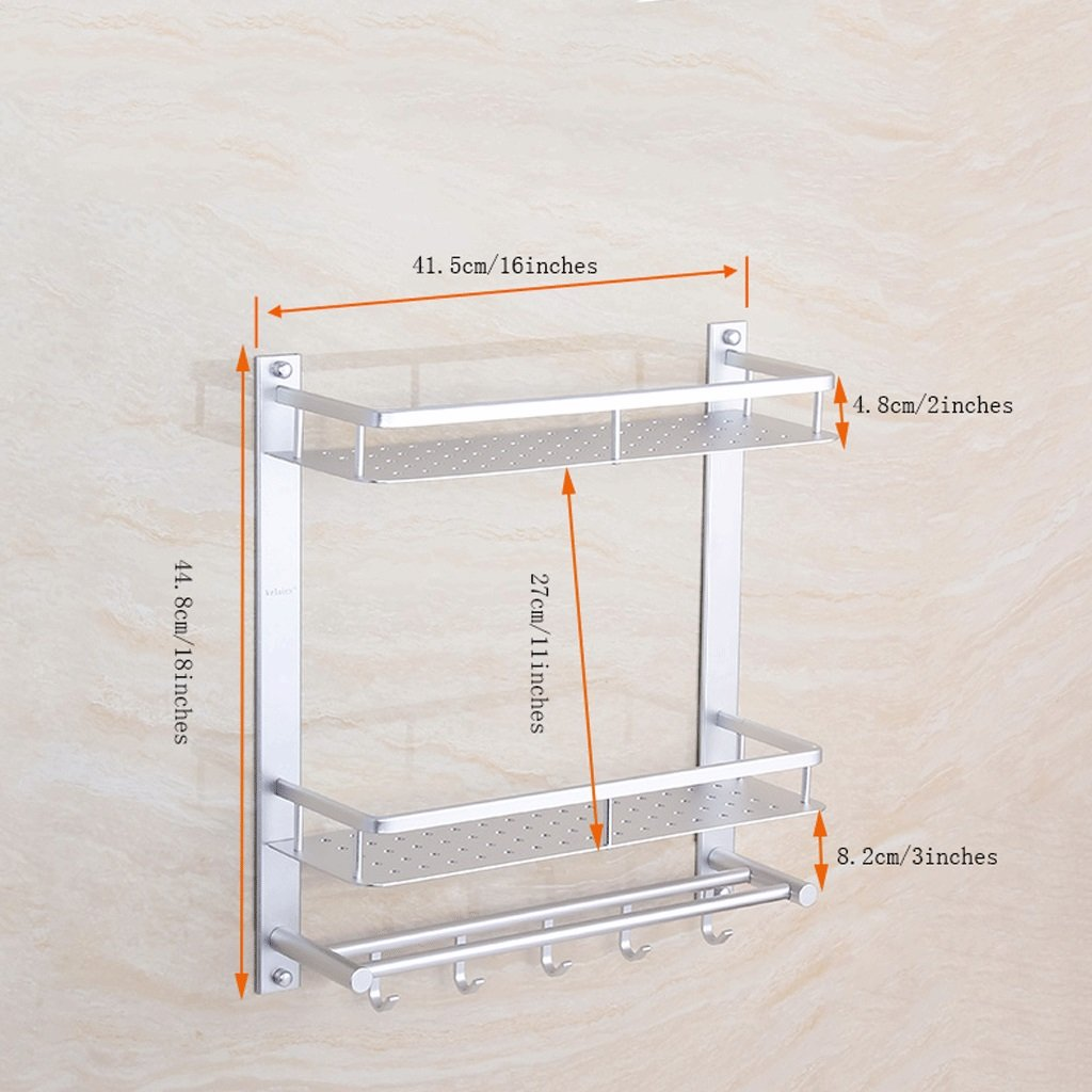 YXN Space Aluminum Bathroom Rack Double Bathroom Wall Hanging Metal Pendant Towel Single Hook Hook Combination Corner Frame Makeup Platform (Size : 41.5cm)