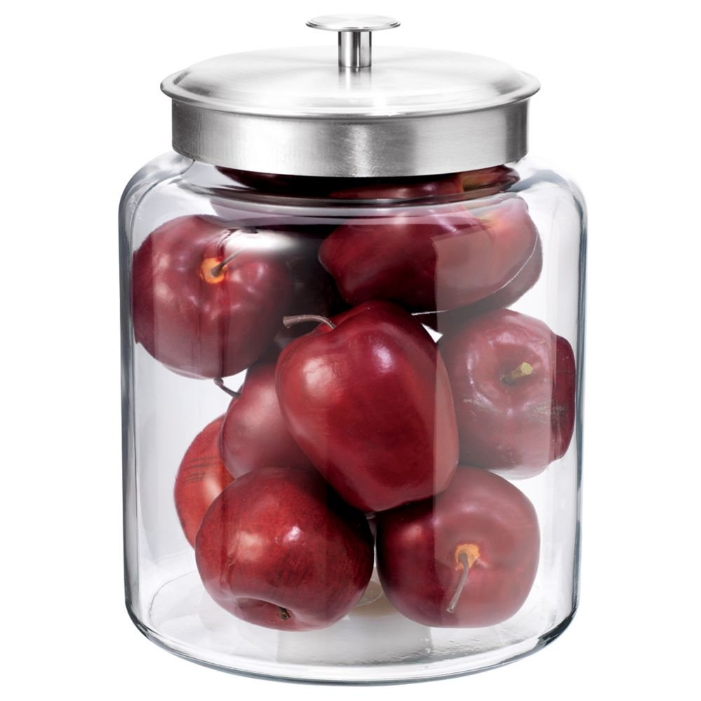 Anchor Hocking 77986 2 Gallon Montana Jar with Brushed Aluminum Metal Cover, Clear 91523