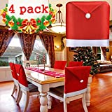 BSWEEII Christmas Chair Back Cover Santa Claus Hat Slipcovers Decoration 20'x 24' 4 Pack Red Hat Chair Back Covers for Dining Room Home Kitchen Chair Covers Set (4Pack Xmas Chair Covers)