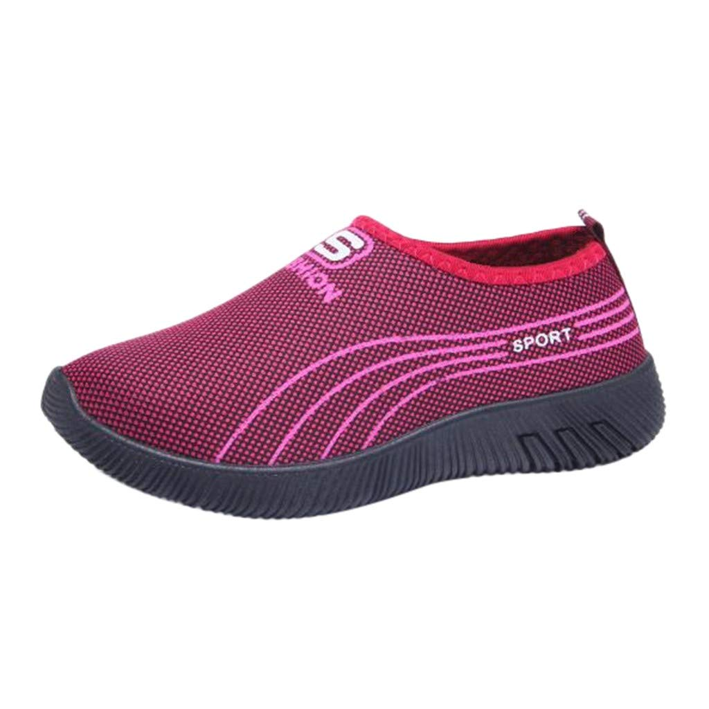 Garish  Women's Striped Casual Anti-Slip Sport Walking Sneakers Loafers Soft Shoes,Easy Wear Shoes Red