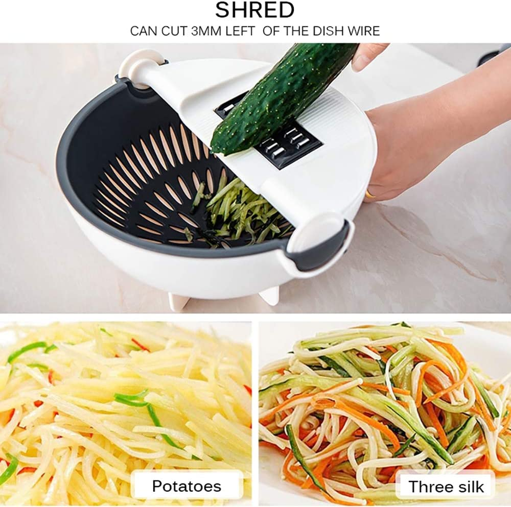 cortador de verduras multifuncional rotar rebanador SOOTOP Cortador de verduras con cesta de drenaje zanahorias pelador de patatas mandolina de verduras rallador con cesta de drenaje cebollas