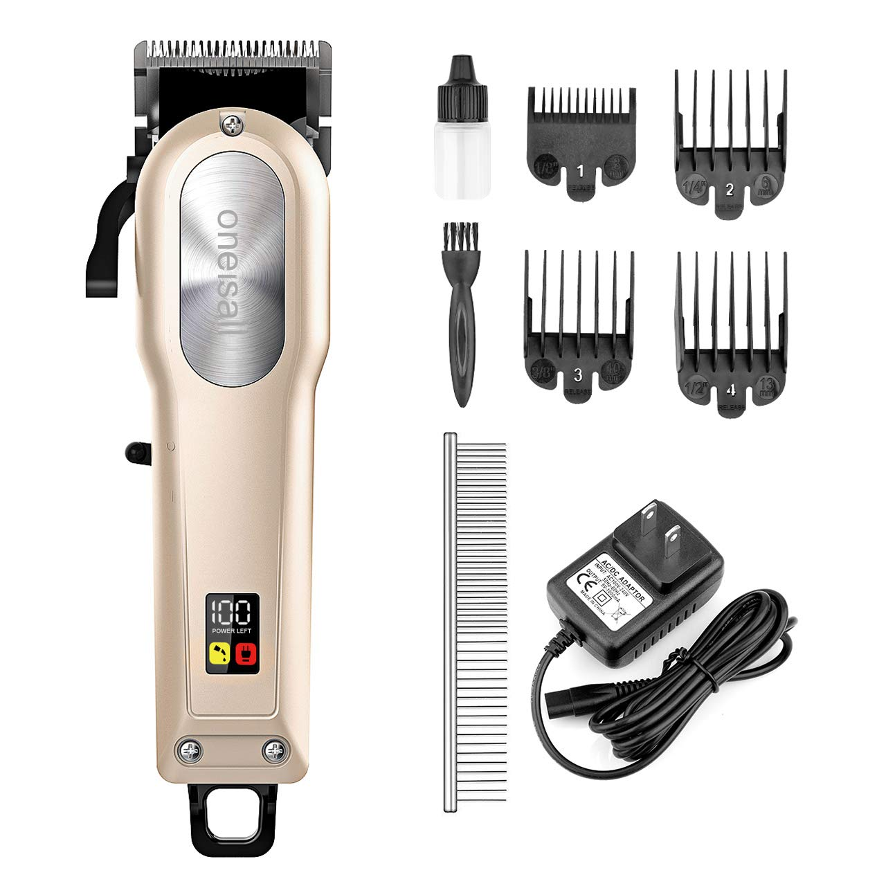oneisall Dog Grooming Clippers,Professional Rechargeable Hair Clipper Heavy Duty Shaver Low Noise Pet Grooming Kits,Suitable for Dogs,Cats and Other Animals,Gold by oneisall