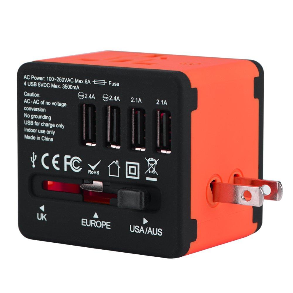 Richer-R Tout-en-Un Adaptateur de Voyage avec 4 USB, Adaptateur Universel Pris de Courant pour US UK EU AU(Rouge)