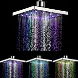 Rainforest Shower Color Changing Shower heads RGB Flash Square 8-inch Chrome for Bathroom
