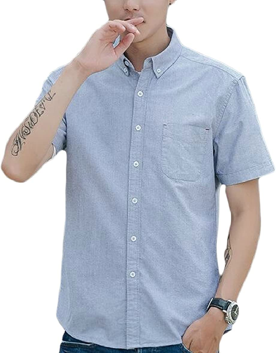 FLCH+YIGE Mens Casual Slim Solid Color Button Down Shirt Short Sleeve Shirt