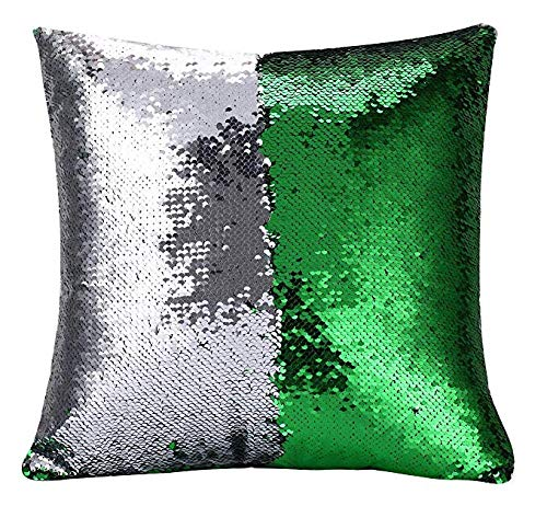 Ainik Mermaid Pillow Case Mermaid Pillow Cover Sequin Throw Pillow Case Decorative Color Change Cushion Cover Sofa Bedroom Car Kids 16 x 16 inches (Green/Silver)