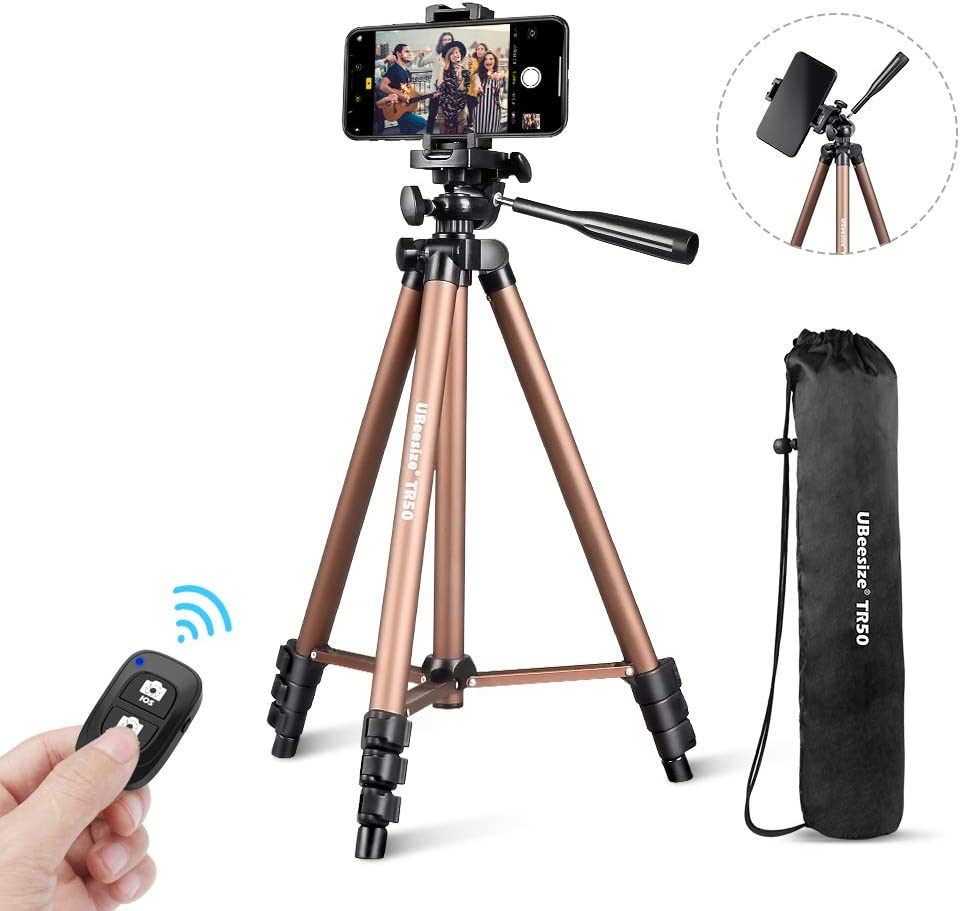 "Phone Tripod, UBeesize 50"" Adjustable Travel Video Tripod Stand with Cell Phone Mount Holder & Smartphone Bluetooth Remote, Compatible with iPhone/Android"