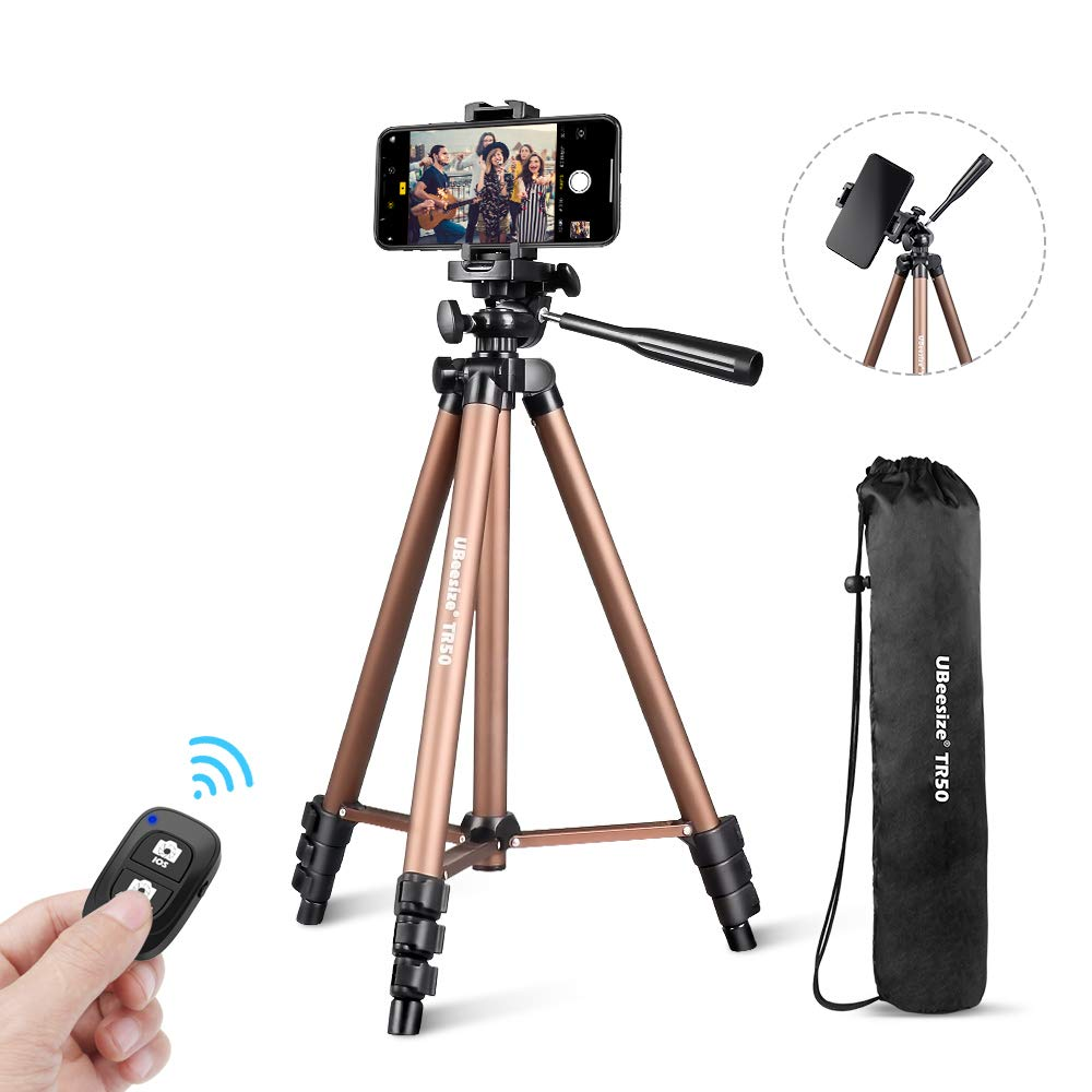 Phone Tripod, UBeesize 50'' Adjustable Travel Video Tripod Stand with Cell Phone Mount Holder & Smartphone Bluetooth Remote, Compatible with iPhone/Android by UBeesize