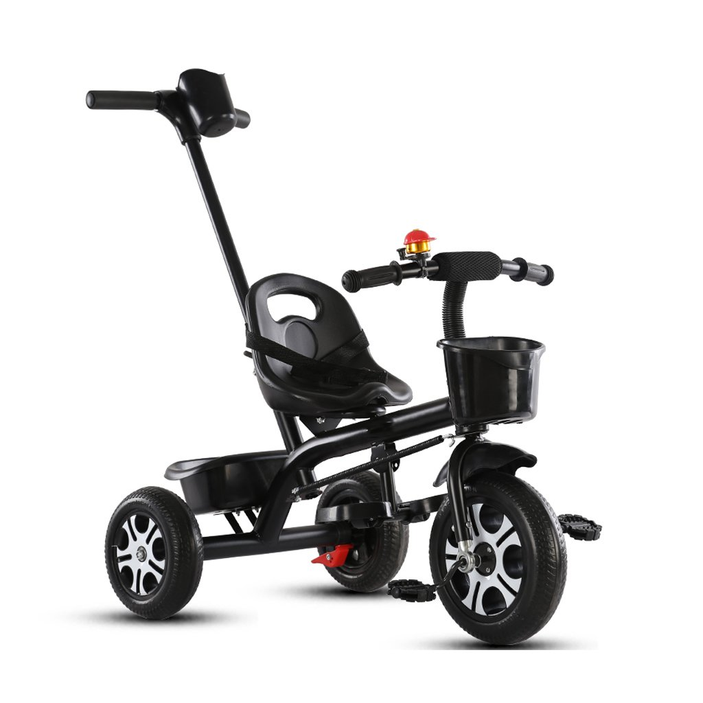 Strollers Baby High-Carbon Steel Material Children's Tricycle Creative Detachable Height Adjustable Push Handle Child Bicycle Baby Trolley (Color : Black)