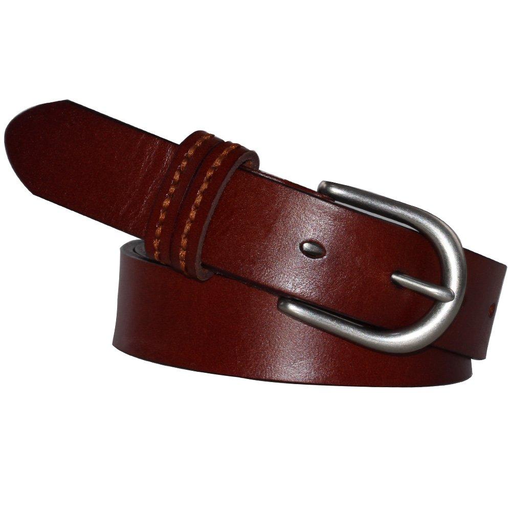 Brown, Narrow PAZARO Women's Leather Belt 100% Full Grain Leather Apparel Belt