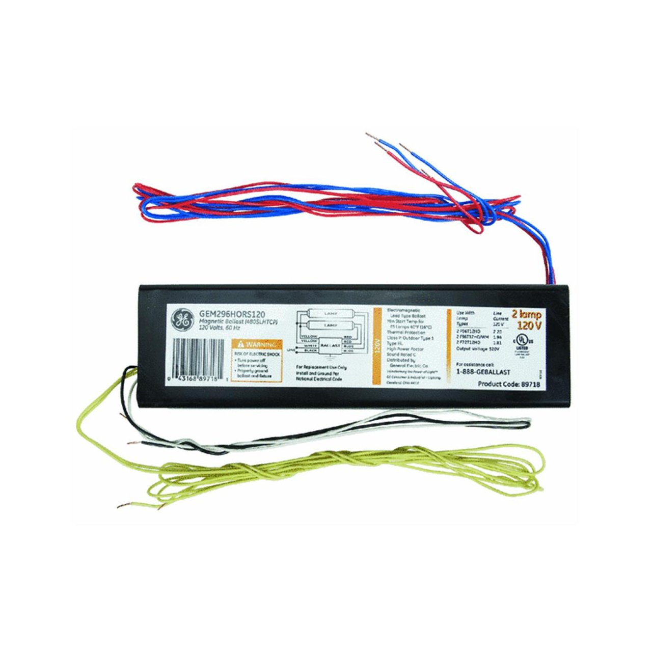 Ge 97499 Ge240rs120 Diy Lfl Proline Electronic Program Rapid Start Ballast Wiring Diagram For 2 F40 Or F34t12 Home Improvement